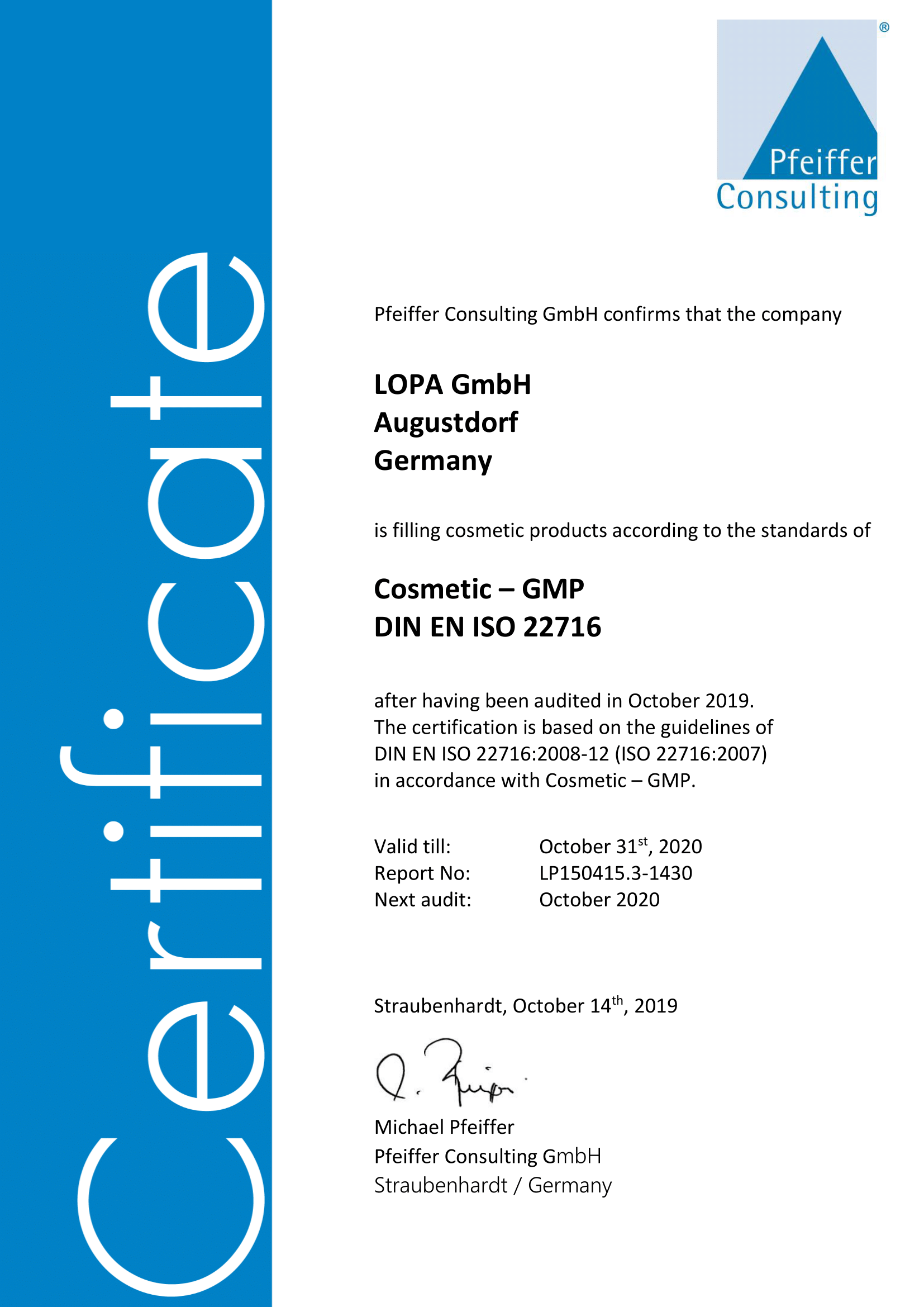 LOPA GmbH Zertifikat Pfeiffer Consulting