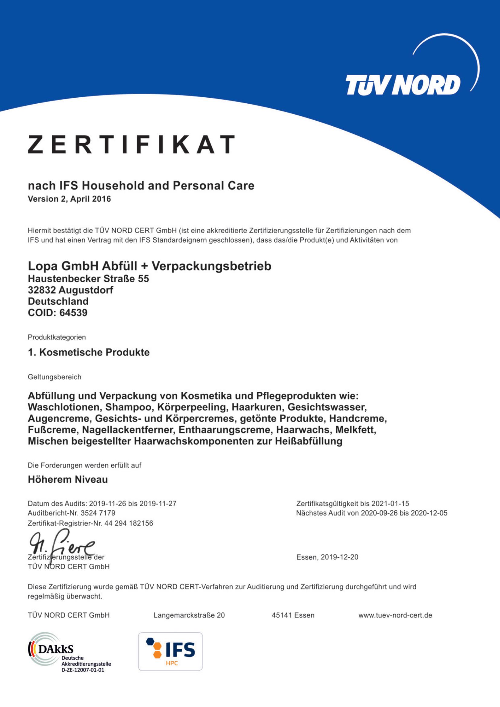 LOPA GmbH Zertifikat TÜV NORD